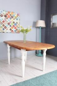 DELIVERY OPTIONS PINE FARMHOUSE SHABBY CHIC PAINTED EXTENDABLE TABLE