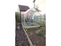 Aluminium Greenhouse 6ft x 8ft with metal base.