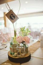 For Hire Wedding Log Centrepieces and Hand Decorated Glass Jars Bottles Rustic Elegant