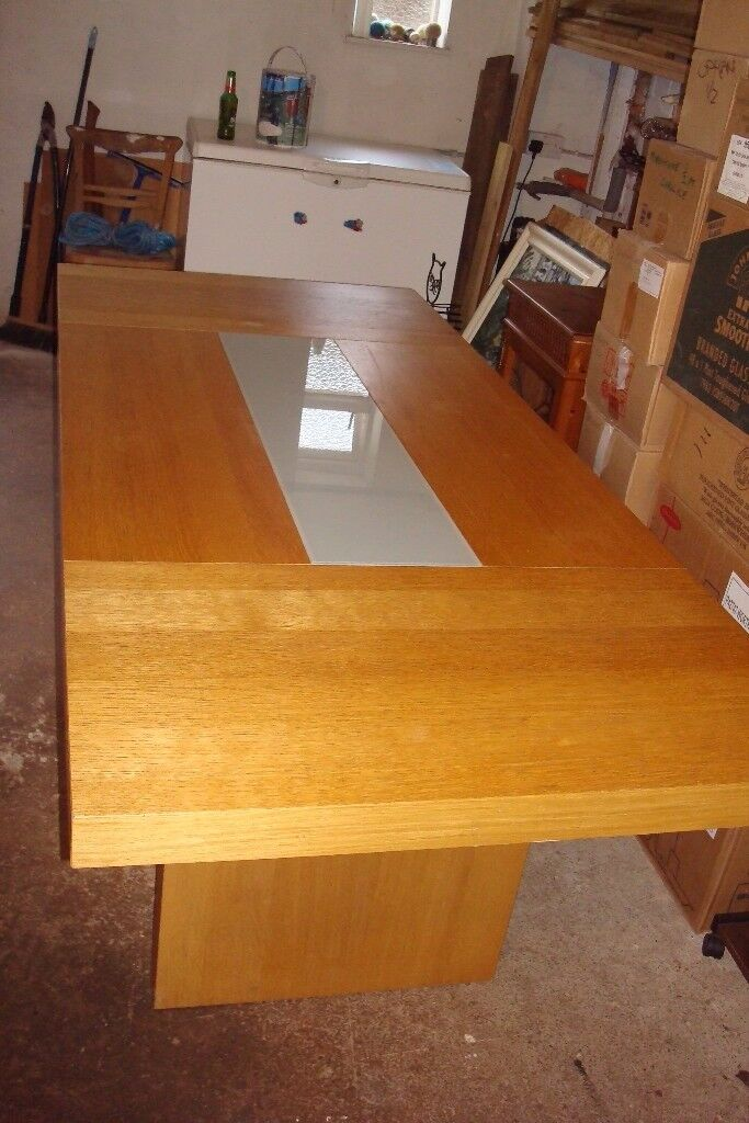 DINING TABLE LARGE, WITH A GLASS INSET AS NEW