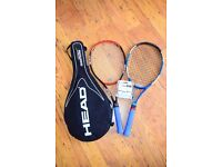 Two Racquets, balls, bag Head and grips