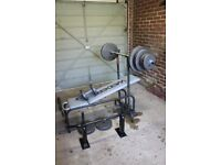 Weider weight bench with weights and Kipping bar: a bargain!
