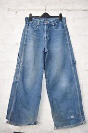 "Bleu Bolt London Boys / Teenagers / Men's Baggy / Skater Carpenter Style Jeans W32"" & L29"""
