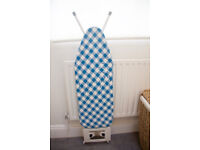 10 Step Height Adjustable Ironing Board, Blue and White Plaid, Excellent condition