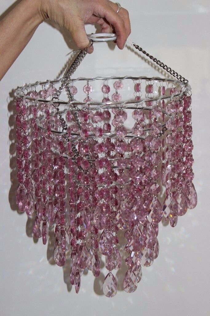 Pink hanging bead chandelier