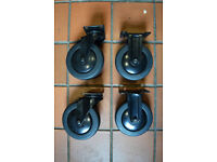 4 Heavy Duty 130mm Swivel Castor Trolley Wheels Black Rubber (2 swivel with brake, 2 fixed)
