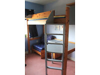 Stompa High sleeper bed with pull out futon and office chair
