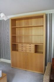 Quality Beech Office Furniture Set - Desk, Shelving/Bookcase/Cupboard Unit, Filing Cabinet & Chair