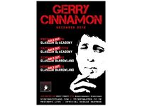 2x Gerry Cinnamon standing tickets, O2 Glasgow Academy, Saturday 15th December 2018