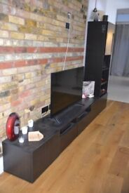 TV stand with drawers and glass stand