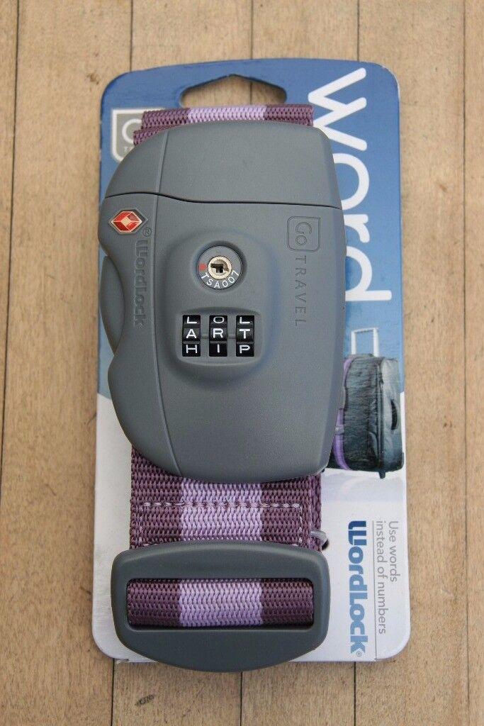 Go Travel Word Strap TSA Approved - Purple - Brand New