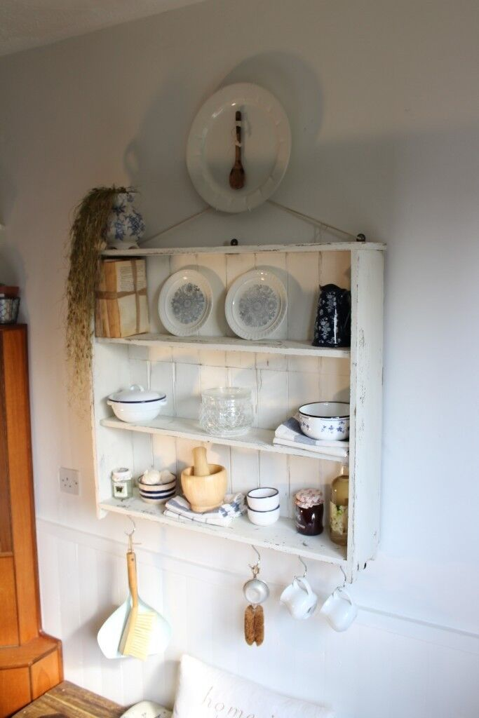 Kitchen Dining Room Wall Unit Plate Rack Shelf Storage