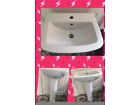 White sink and pedestal (brand new - never used)