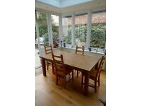 Solid kitchen / dining table and 4 chairs