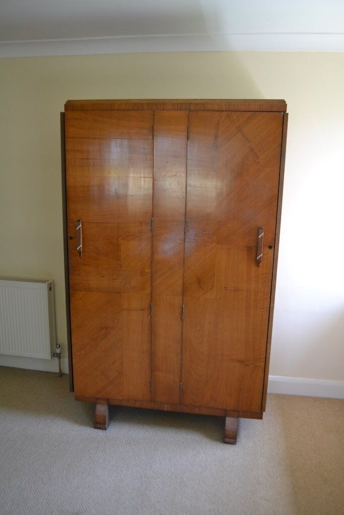 Vintage 1930s Wardrobe, Walnut, Art Deco Style, Purchaser