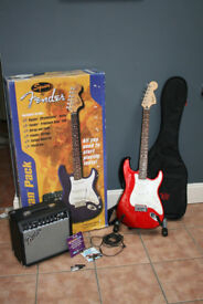 Fender Squire Stratocaster Red Electric Guitar & Fender Frontman 15R Amp plus accessories Ex Cond