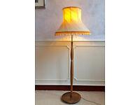 Retro Vintage Teak Brass Mid Century Floor Standing Standard Lamp + Silk Shade