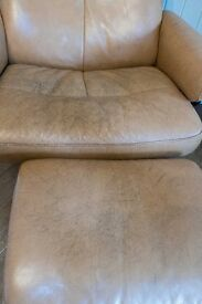 Stressless Reclining Chair with footstool. Through-Dyed leather, Tan.