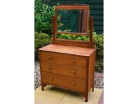 Solid Oak Vintage 3 Drawer Chest of Drawers/Dressing Table with Mirror
