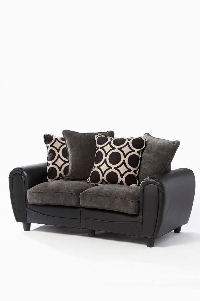 Delta 2 Seater Black Faux Leather And Grey Fabric Sofa Couch