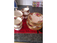 1/2 set of 6 teaset in country rose 18 piece