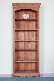 DELIVERY OPTIONS - LOVELY TALL RUSTIC SOLID PINE BOOKCASE 5 SHELVES WAXED