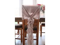 100 Vintage dusky pink chiffon chair hoods with ruffles