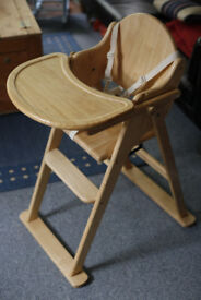 Childs high chair, wooden