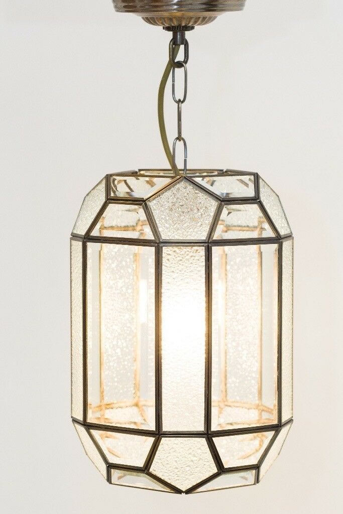 Antique Deco Period Style Hallway Bevelled Glass Lantern Ceiling Light Fitting Zone 6 Tube