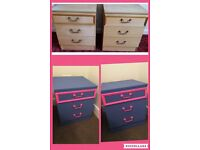 2 Upcycled funky wooden bedside table chest of drawers