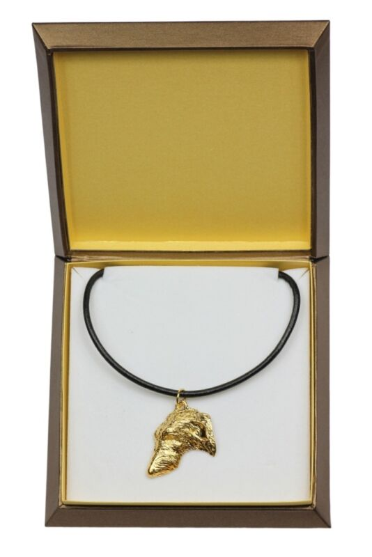 Scottish Deerhound - gold plated necklace with dog, in box, Art Dog USA