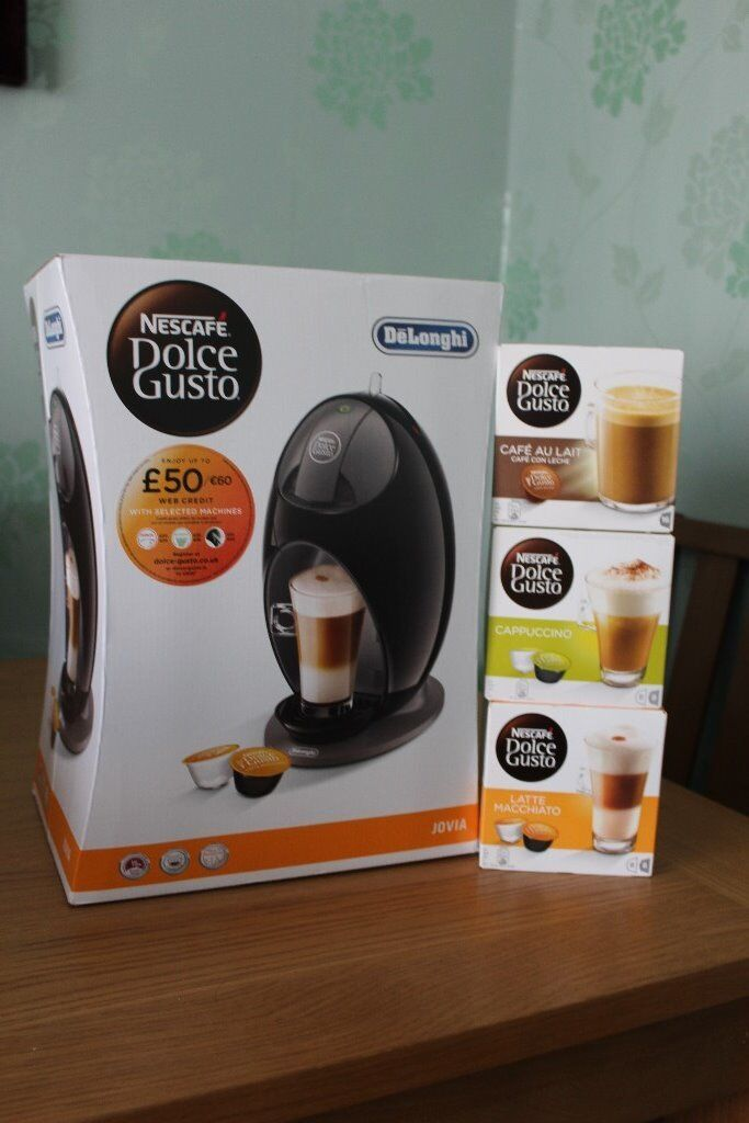 DeLonghi Jovia Dolce Gusto coffee machine with three coffees