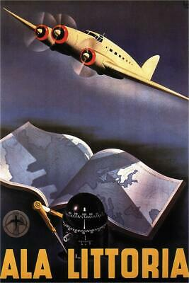 Ala Littoria Italian Airlines Vintage Travel Cubicle Locker Mini Art Poster 8x12