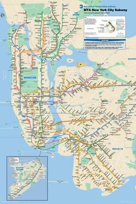 - New York City NYC Manhattan Brooklyn MTA Subway Train Map Poster 24x36