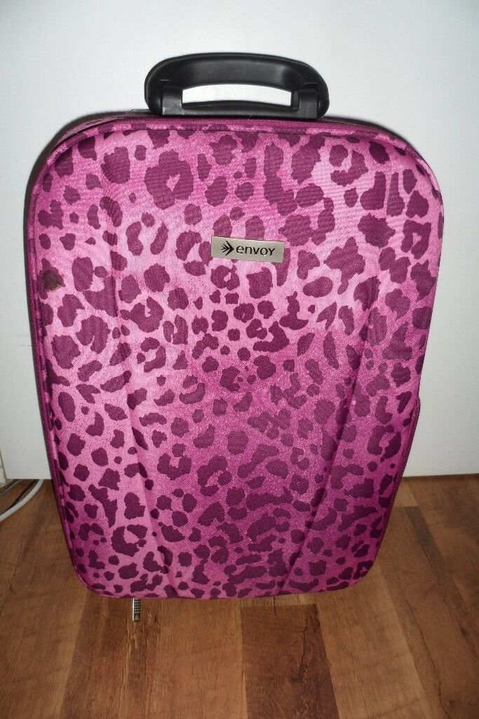 NEW ENVOY Lightweight Expandable Pink Leopard Print Suitcase ...