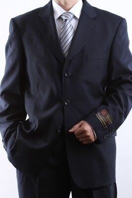MEN'S SINGLE BREASTED 3 BUTTON NAVY DRESS SUIT SIZE 36S, PL-60513-NAV