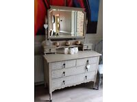 shabby chic antique dressing table with beveled mirror