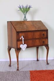 ELEGANT OLD FRENCH STYLE WRITING BUREAU/ DESK WITH WALNUT INLAY - CAN COURIER