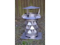 Windkat cowl for chimney stacks - steinless steel, 130mm diameter, new, exceptional performance