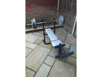Home gym w/ weights, barbell, bench, squat stand, etc...