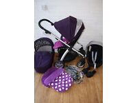 Purple Mamas and Papas Sola pram with car seat 3 in 1 CAN POST