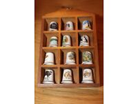 ON OFFER FOR ONLY £9 THE LOT SET of 12 BONE CHINA COLLECTORS THIMBLES