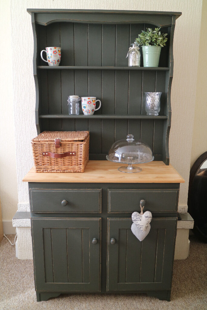 Farmhouse Pine Welsh Dresser Shabby Chic Painted With Solid Wood Top