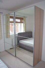 IKEA Pax wardrobe, white oak effect, mirror sliding doors, good as new