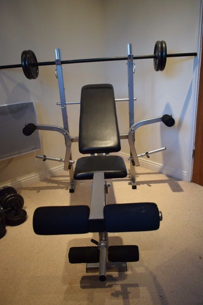 Weights bench and weights for sale: bench, dumbbells, barbell, chest and leg press multigym