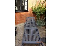 Hard wood painted garden loungers