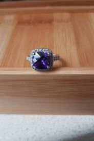 925 sterling silver real amethyst and Swarowski crystals ring - very nice condition