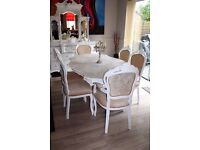 Stunning dining table and 6 chairs Italian shabby chic