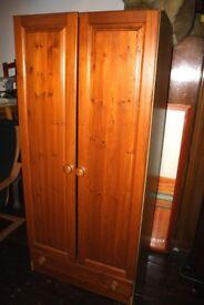 Pine Double Door Wardrobe With Storage Draw
