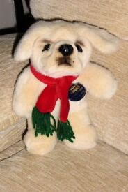 Cute Cheeky Chums CuddlyToy Dog with Red and Green Scarf and Still with Label, Histon